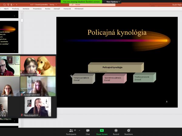 Online odborná prednáška pre našich žiakov na tému Policajná kynológia